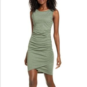 Leith Nordstrom olive green bodycon ruched dress